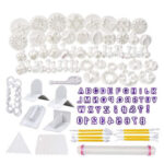 114pcs/Set Fondant Cake Mold Baking Cookie Cutter Modelling Decorating Tool