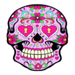 Skull Wall Hanging Blanket Tablecloth Beach Yoga Mat Home Tapestry (Pink)