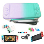 Gradient Game Console Controller Case Pouch Kit for Nintend-Switch (Green)