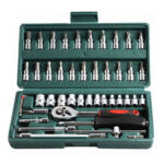 46pcs 1/4 Drive Ratchet Socket Wrench Set Bit Socket Kit Auto Repair Tools