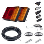 8 LED Trailer Tail Lights 5-Core Wire License Plate Marker Light Plug Kit