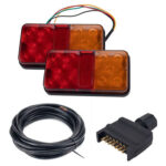 1 Pair 10 LED Truck Boat Trailer Tail Lights with Plug 8m 5-Core Cable Kit