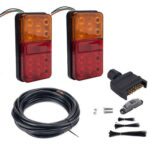 10 LED Trailer Tail Lights 5-Core Wire License Plate Marker Light Plug Kit