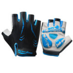 Outdoor Sports Half Finger Gloves Women Men Cycling Gloves (Black+Blue XL)