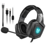 K8 3.5mm Wired Headphone Stereo Audio USB RGB Gaming Headset w/ Microphone