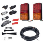 10 LED Trailer Taillight Number Plate Light Plug Reflector 5-Core Wire Kit
