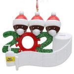 Christmas Tree Decor Ornament DIY 2020 Name Face Mask Snowman (3 Heads)