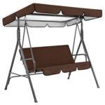 2x Waterproof Garden Patio Courtyard Swing Seat Cover + Top Cover (Coffee)