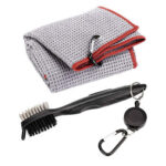 Golf Club Brush Towel Kit 2 Sided Putter Wedge Ball Groove Cleaning (Grey)