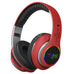 VJ033 LED Bluetooth 5.0 Headphone Music Sports Wireless MIC Headset (Red)