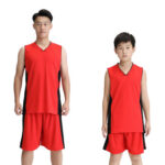 2pcs Basketball Sport Set Adult Kids Training Wear Suit (Red+Black L)