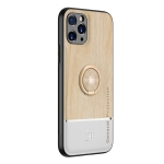 Wood Grain PC + TPU Shockproof Protective Case with Ring Holder For iPhone 11 Pro Max(Wood Color)
