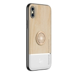 Wood Grain PC + TPU Shockproof Protective Case with Ring Holder For iPhone X / XS(Wood Color)