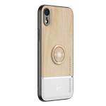 Wood Grain PC + TPU Shockproof Protective Case with Ring Holder For iPhone XR(Wood Color)