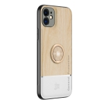 Wood Grain PC + TPU Shockproof Protective Case with Ring Holder For iPhone 12(Wood Color)