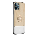 Wood Grain PC + TPU Shockproof Protective Case with Ring Holder For iPhone 12 Pro Max(Wood Color)