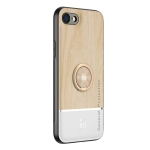 Wood Grain PC + TPU Shockproof Protective Case with Ring Holder For iPhone SE 2020 / 8 / 7(Wood Color)
