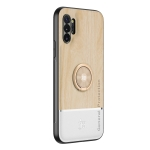 For Samsung Galaxy Note10+ Wood Grain PC + TPU Shockproof Protective Case with Ring Holder(Wood Color)