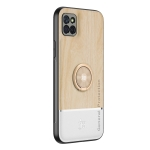 For Samsung Galaxy A81 Wood Grain PC + TPU Shockproof Protective Case with Ring Holder(Wood Color)