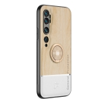 For Xiaomi Mi CC9 Pro Wood Grain PC + TPU Shockproof Protective Case with Ring Holder(Wood Color)