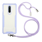 For OnePlus 6 Acrylic + Color TPU Shockproof Case with Neck Lanyard(Purple)