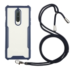 For OnePlus 6T Acrylic + Color TPU Shockproof Case with Neck Lanyard(Dark Blue)