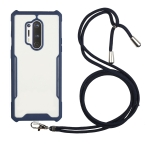 For OnePlus 8 Pro Acrylic + Color TPU Shockproof Case with Neck Lanyard(Dark Blue)