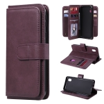 For Samsung Galaxy A01 Core Multifunctional Magnetic Copper Buckle Horizontal Flip Solid Color Leather Case with 10 Card Slots & Wallet & Holder & Photo Frame(Wine Red)