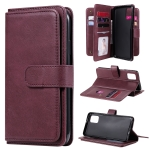 For Samsung Galaxy M31s Multifunctional Magnetic Copper Buckle Horizontal Flip Solid Color Leather Case with 10 Card Slots & Wallet & Holder & Photo Frame(Wine Red)