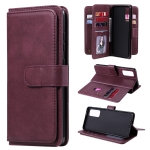 For Samsung Galaxy S20 FE 5G Multifunctional Magnetic Copper Buckle Horizontal Flip Solid Color Leather Case with 10 Card Slots & Wallet & Holder & Photo Frame(Wine Red)