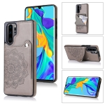 For Huawei P30 Pro Embossed Pattern PU + TPU Protective Case with Holder & Wallet & Card Slots(Grey)