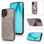 For Huawei P40 Lite Embossed Pattern PU + TPU Protective Case with Holder & Wallet & Card Slots(Grey)