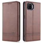 For Oppo F17 AZNS Magnetic Calf Texture Horizontal Flip Leather Case with Card Slots & Holder & Wallet(Dark Brown)