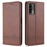 For Xiaomi Poco M3 AZNS Magnetic Calf Texture Horizontal Flip Leather Case with Card Slots & Holder & Wallet(Dark Brown)
