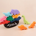 Animal Balance Building Blocks Balance Boats Children Hand-Eye Coordination Wooden Toys(Dinosaur World)