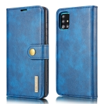 For Samsung Galaxy A51 5G DG.MING Crazy Horse Texture Flip Detachable Magnetic Leather Case with Holder & Card Slots & Wallet(Blue)
