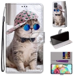 For Samsung Galaxy A71 Coloured Drawing Cross Texture Horizontal Flip PU Leather Case with Holder & Card Slots & Wallet & Lanyard(Oblique Hat Blue Mirror Cat)