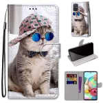 For Samsung Galaxy A71 5G Coloured Drawing Cross Texture Horizontal Flip PU Leather Case with Holder & Card Slots & Wallet & Lanyard(Oblique Hat Blue Mirror Cat)
