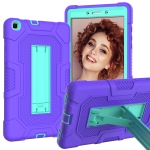 For Samsung Galaxy Tab A 8.0 (2019) / T290 Contrast Color Robot Shockproof Silicone + PC Protective Case with Holder(Purple Mint Green)
