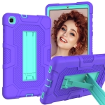 For Samsung Galaxy Tab A 8.4 (2020) / T307 Contrast Color Robot Shockproof Silicone + PC Protective Case with Holder(Purple Mint Green)