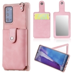For Samsung Galaxy Note20 Shockproof Protective Case with Mirror & Card Slot & Short Lanyard(Pink)