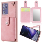 For Samsung Galaxy Note20 Ultra Shockproof Protective Case with Mirror & Card Slot & Short Lanyard(Pink)
