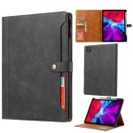 Calf Texture Double Fold Clasp Horizontal Flip Leather Case with Photo Frame & Holder & Card Slots & Wallet For iPad Pro 12.9 inch (2020)(Black)