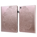 For Lenovo Tab M10 Plus Peacock Embossed Pattern TPU + PU Horizontal Flip Leather Case with Holder & Card Slots & Wallet & Sleep / Wake-up Function(Rose Gold)