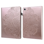 For Lenovo Tab M10 Plus TB-X606F Peacock Embossed Pattern TPU + PU Horizontal Flip Leather Case with Holder & Card Slots & Wallet & Sleep / Wake-up Function(Rose Gold)