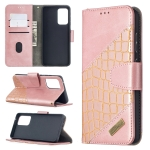 For Samsung Galaxy A52 5G Matching Color Crocodile Texture Horizontal Flip PU Leather Case with Wallet & Holder & Card Slots(Rose Gold)