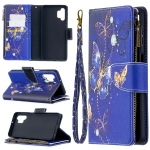 For Samsung Galaxy A32 Colored Drawing Pattern Zipper Horizontal Flip Leather Case with Holder & Card Slots & Wallet(Purple Butterfly)