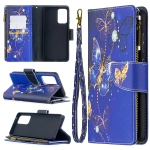 For Samsung Galaxy A52 5G Colored Drawing Pattern Zipper Horizontal Flip Leather Case with Holder & Card Slots & Wallet(Purple Butterfly)