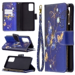 For Samsung Galaxy A72 5G Colored Drawing Pattern Zipper Horizontal Flip Leather Case with Holder & Card Slots & Wallet(Purple Butterfly)