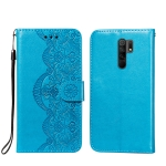 For Xiaomi Redmi 9 Flower Vine Embossing Pattern Horizontal Flip Leather Case with Card Slot & Holder & Wallet & Lanyard(Blue)